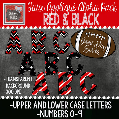 Game Day Series Alpha & Number Pack - Red & Black