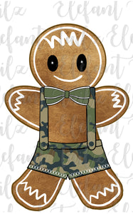 Gingerbread Boy Camouflage Overalls