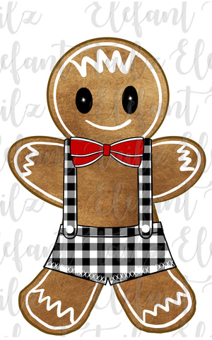 Gingerbread Boy Black White Buffalo Plaid Overalls