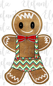 Gingerbread Boy Chevron Overalls