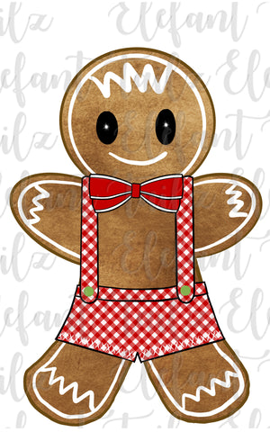 Gingerbread Boy Red Gingham Overalls