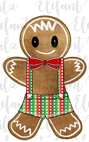 Gingerbread Boy Stripe & Dot Overalls