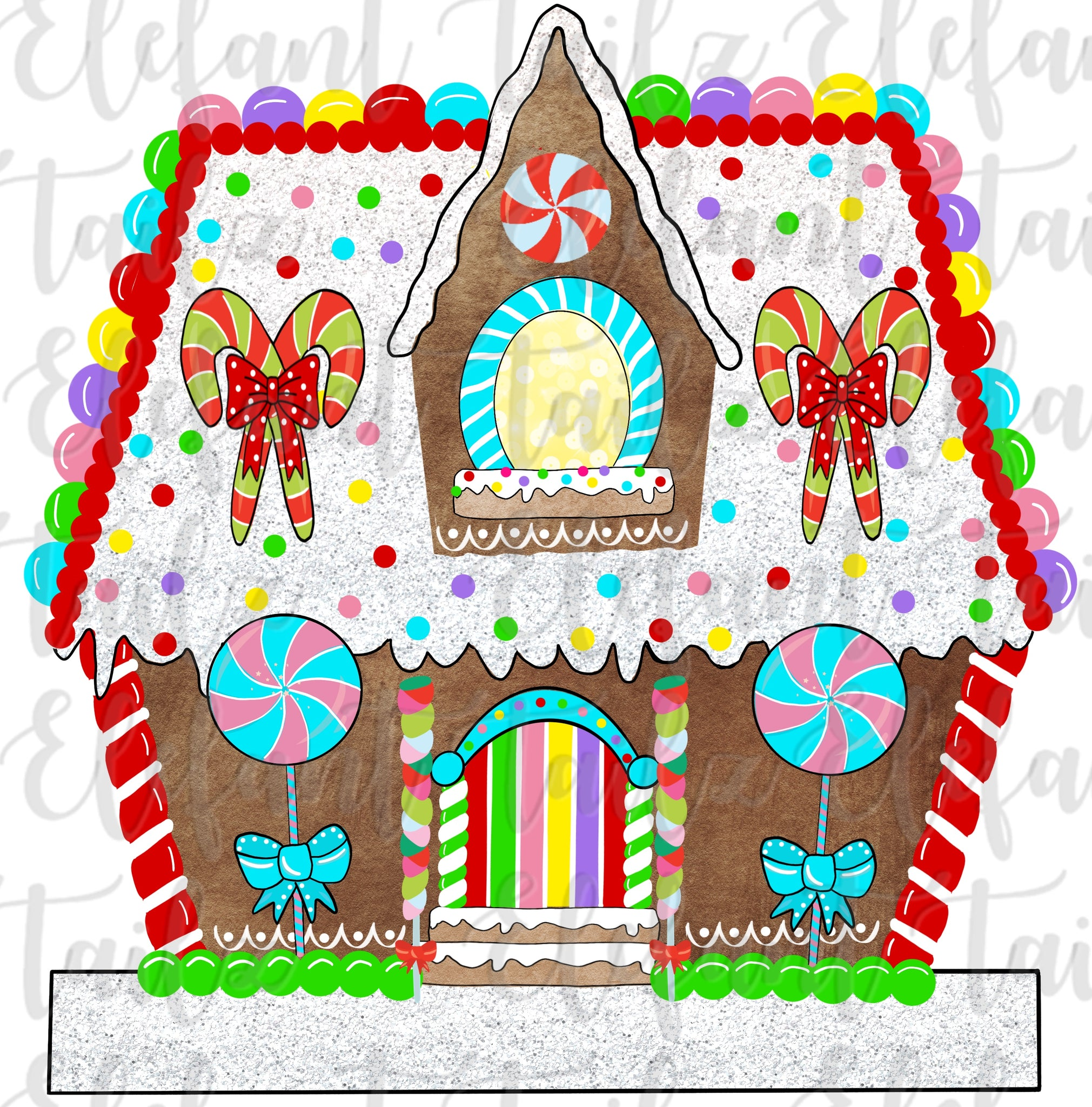 Gingerbread House 1 Window - Blank