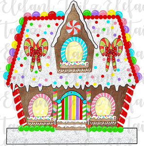 Gingerbread House 3 Windows - Blank