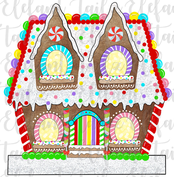 Gingerbread House 4 Windows - Blank