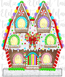 Gingerbread House 6 Windows - Blank