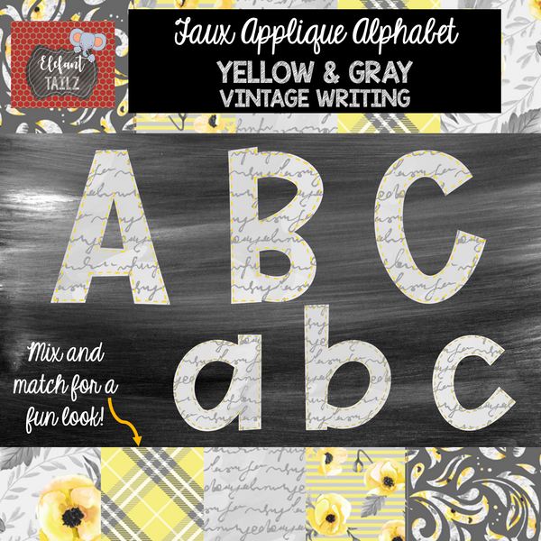 Alpha & Number Pack - Faux Applique - Gray & Yellow Vintage Writing