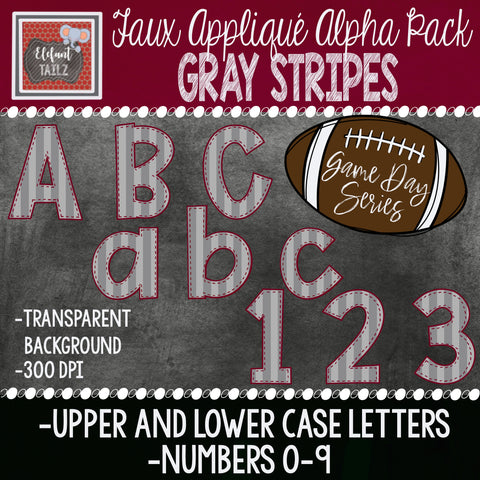 Game Day Series Alpha & Number Pack - Gray Stripes
