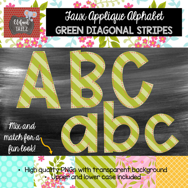 Alpha Pack - Faux Applique - Green Diagonal Stripes