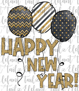 Happy New Year Balloons Gold