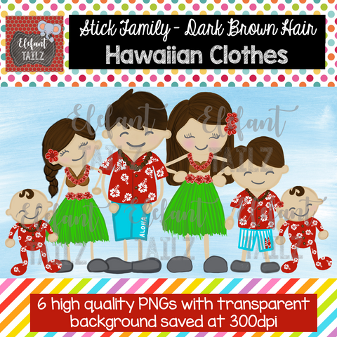 Hawaiian Family - Dark Brown Hair