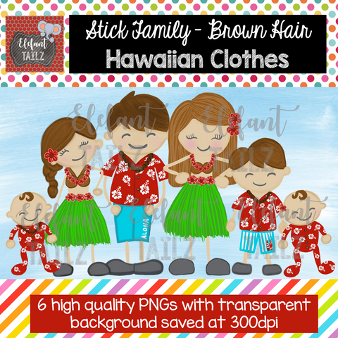 Hawaiian Family - Brown Hair