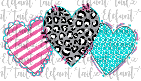 Heart Trio Leopard Pink Teal