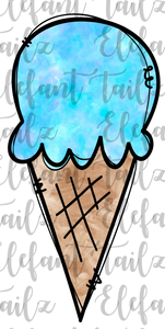 Watercolor Ice Cream Cone Blue