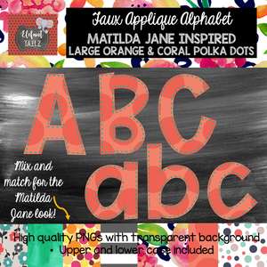 Alpha Pack - Matilda Jane Faux Applique - Jumbo Orange & Coral Polka Dots