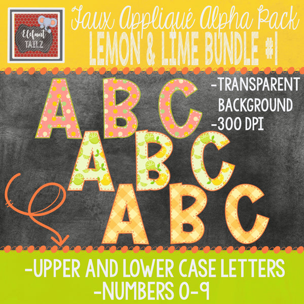 Alpha & Number Pack - Lemon & Lime BUNDLE #1