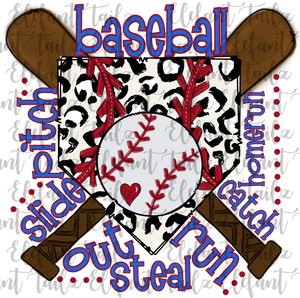 Baseball Leopard Base Word Art