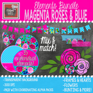 Magenta Roses & Blue Elements BUNDLE