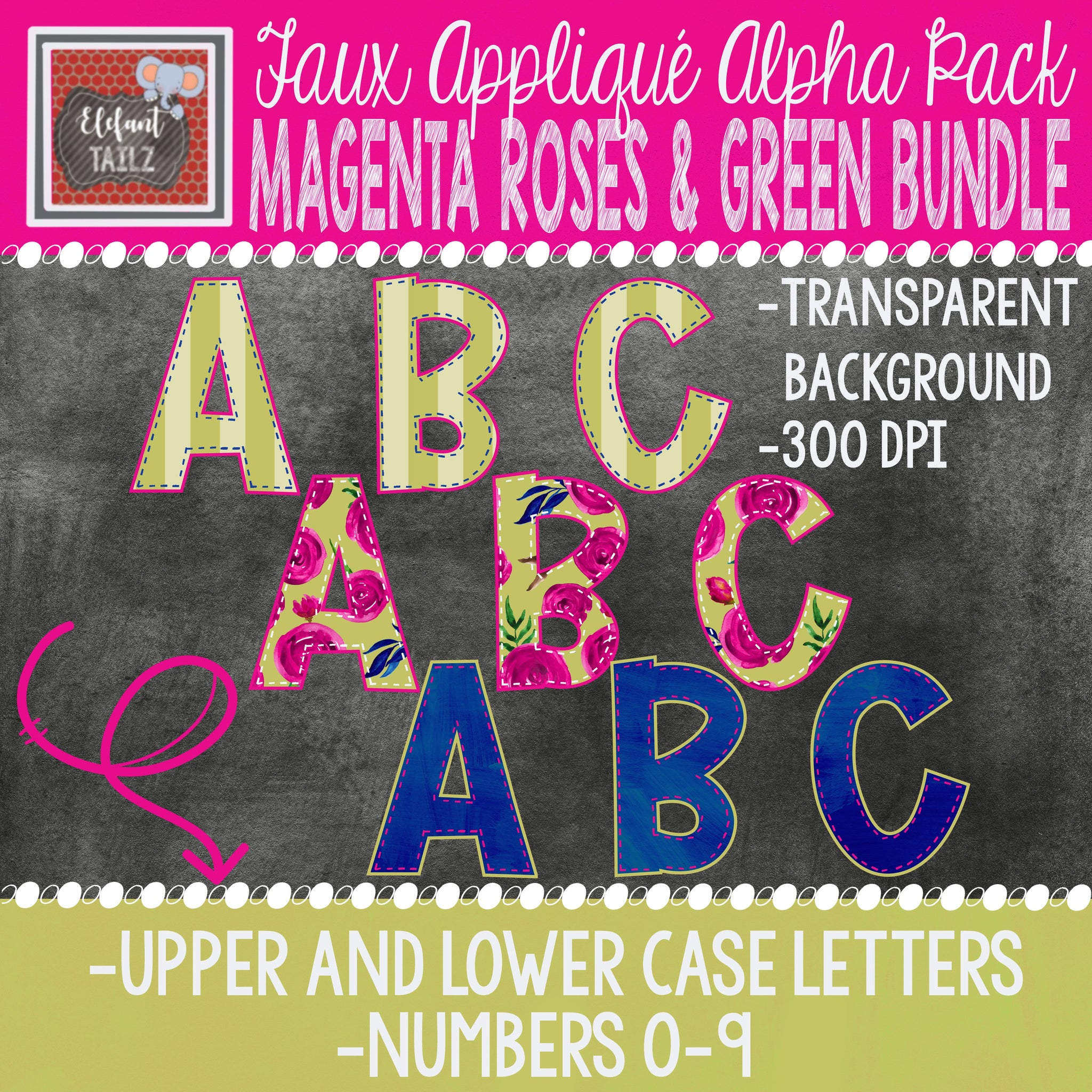 Alpha & Number Pack - Magenta Roses & Green BUNDLE