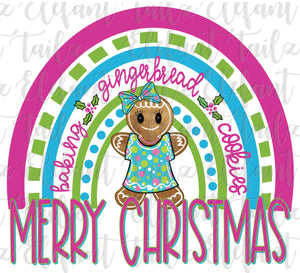 Merry Christmas Gingerbread Girl Rainbow Bright