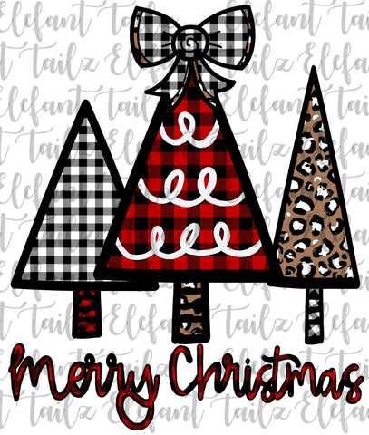 Merry Christmas Tree Trio - Buffalo Plaid & Leopard