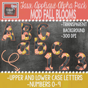 Alpha & Number Pack - Faux Applique - Mod Fall Blooms
