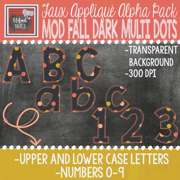 Alpha & Number Pack - Faux Applique - Mod Fall Dark Multi Dots
