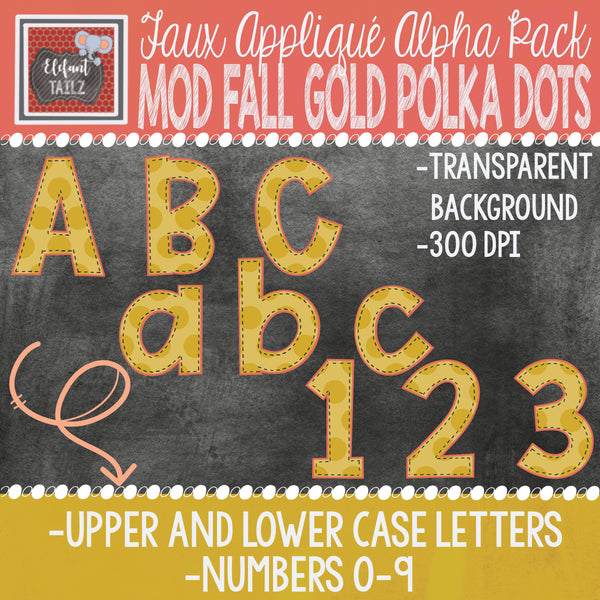 Alpha & Number Pack - Faux Applique - Mod Fall Gold Polka Dots