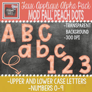 Alpha & Number Pack - Faux Applique - Mod Fall Peach Dots