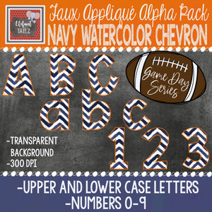 Game Day Series Alpha & Number Pack - Navy Watercolor Chevron