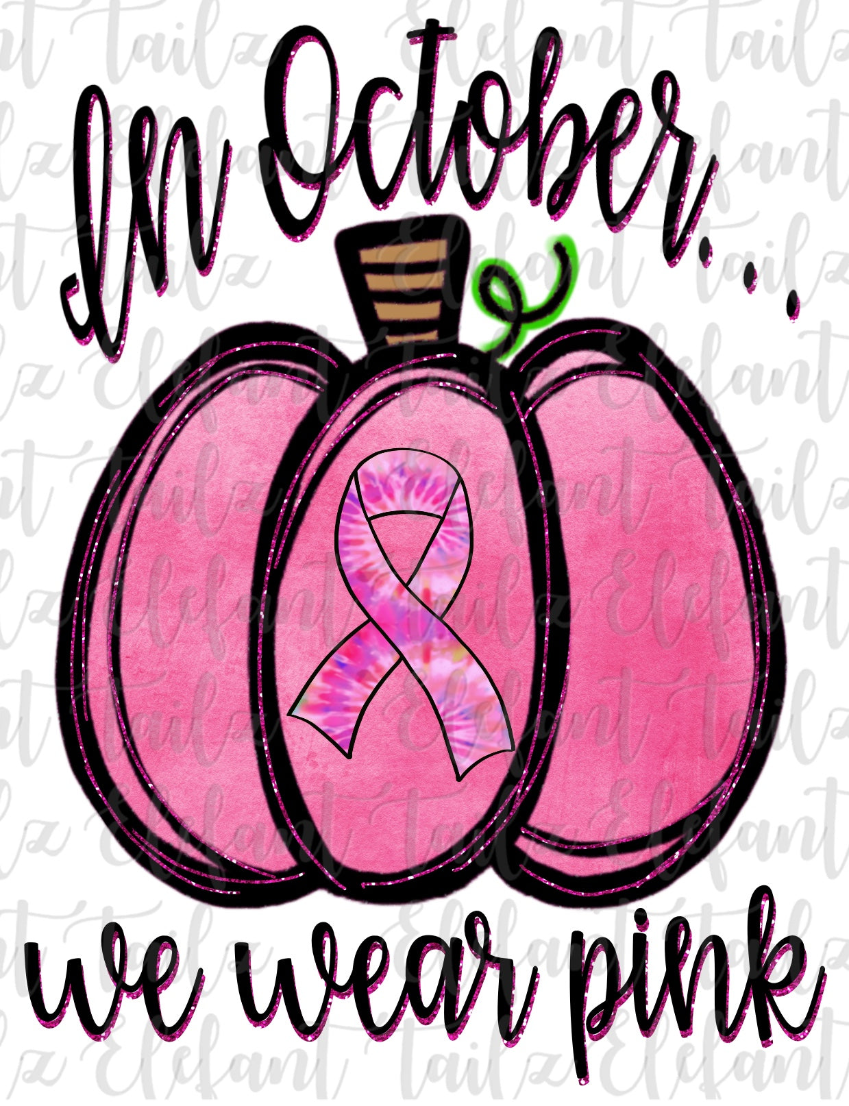 October Wear Pink Tie Dye Ribbon Pumpkin
