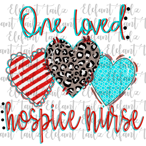 One Loved Hospice Nurse Leopard Heart Trio