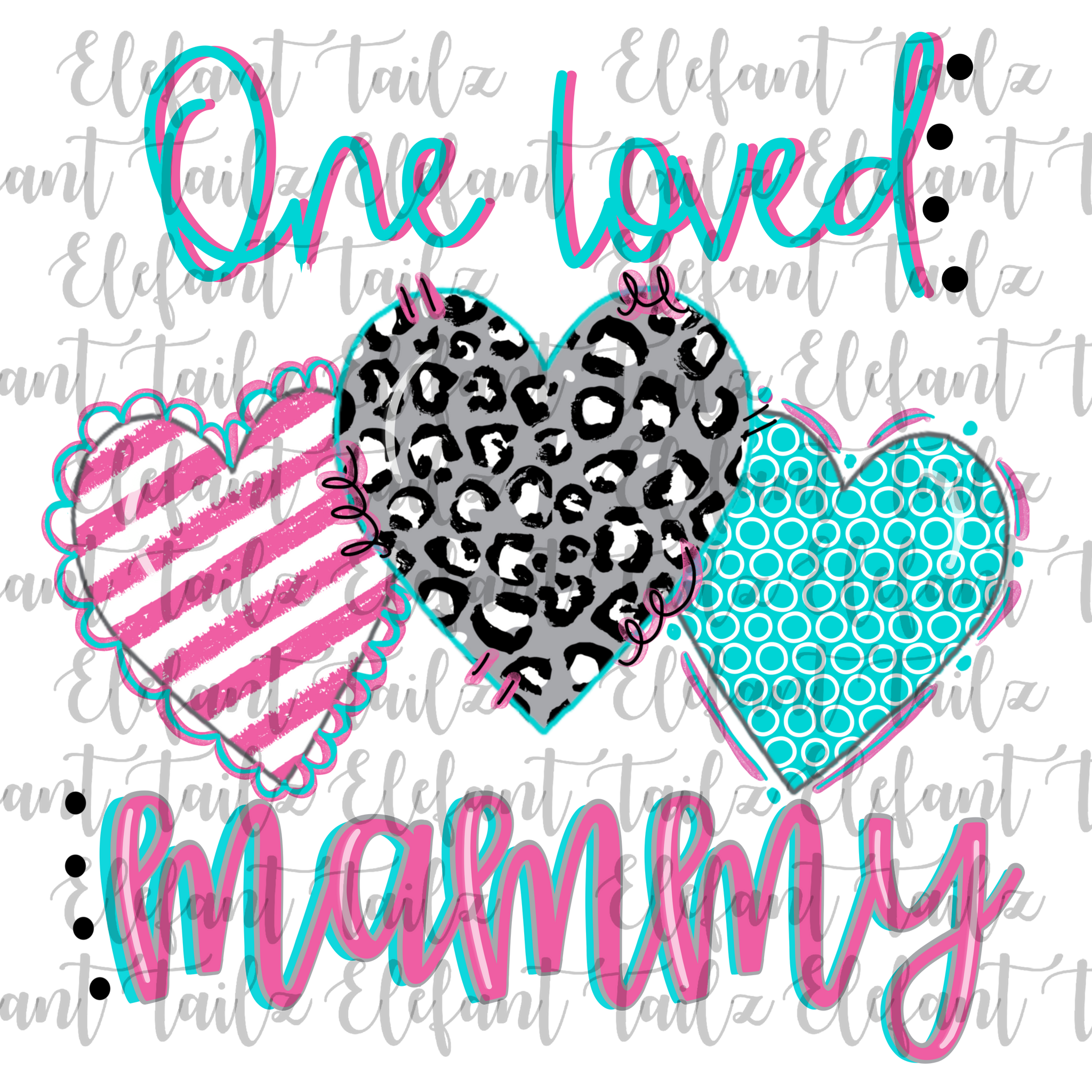 One Loved Mammy Leopard Heart Trio