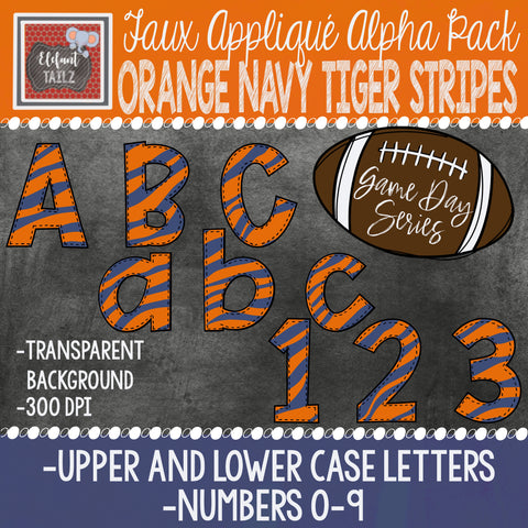Game Day Series Alpha & Number Pack - Orange Navy Tiger Stripes