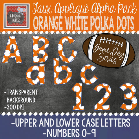 Game Day Series Alpha & Number Pack - Orange & White Polka Dots