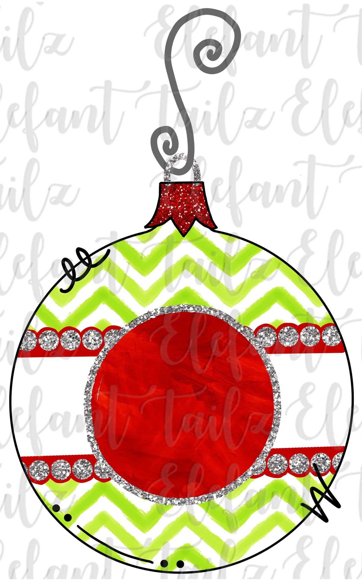 Ornament - Lime & Red Chevron