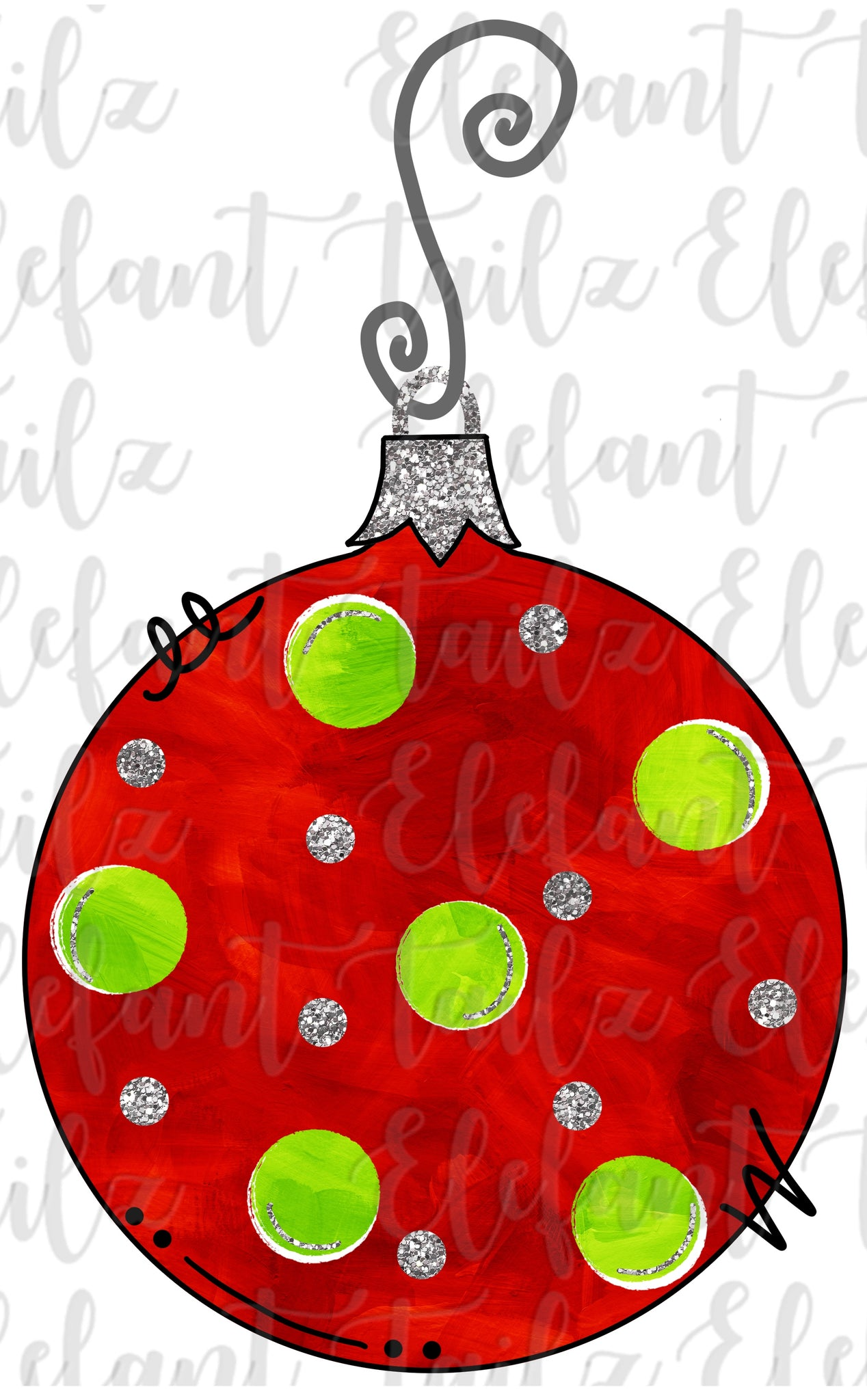 Ornament - Red & Lime Polka Dots