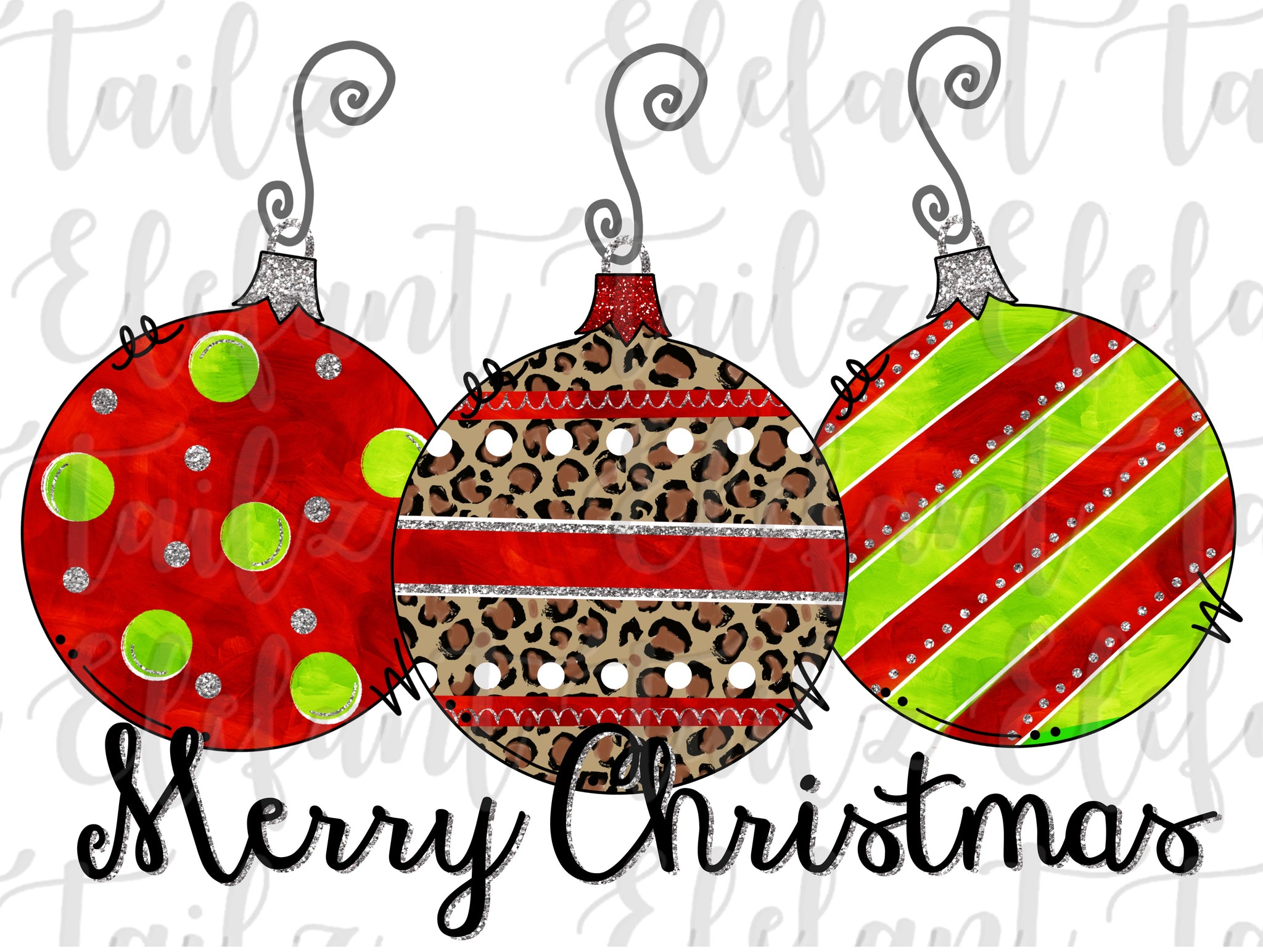 Ornament Trio - Merry Christmas #2