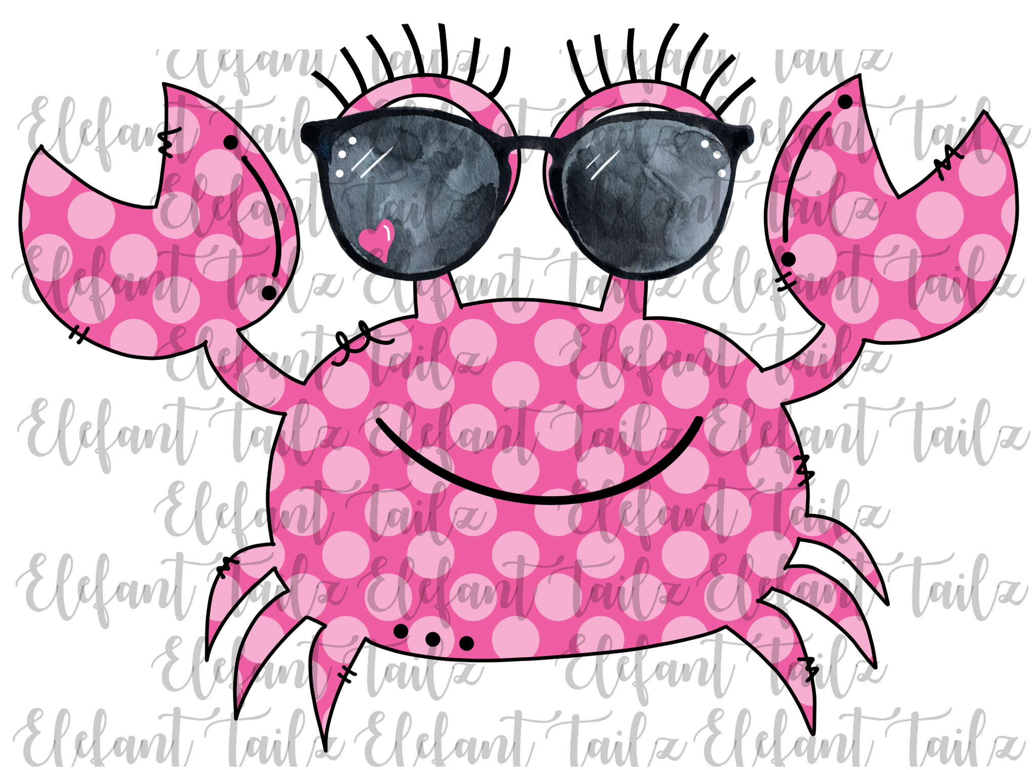 Crab with Sunglasses Pink