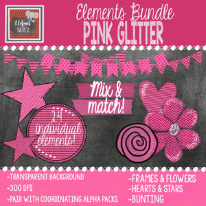 Pink Glitter Elements BUNDLE