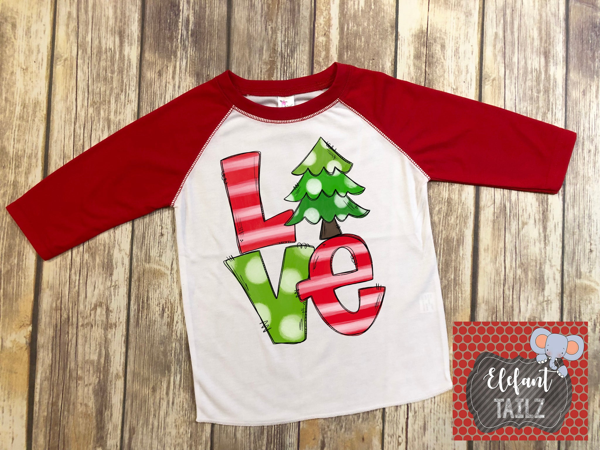 Love Christmas Stacked - Kid's Red Raglan