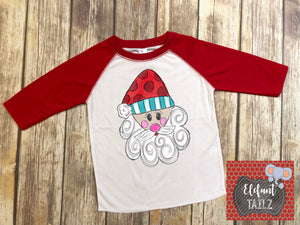 Santa Head - Kid's Red Raglan