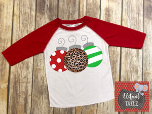 Ornament Trio - Kid's Red Raglan