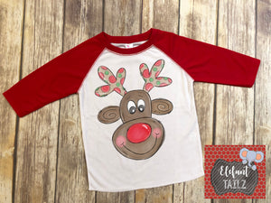 Boy Rudolph Reindeer - Kid's Red Raglan