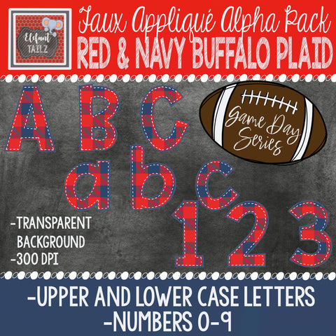 Game Day Series Alpha & Number Pack - Red & Navy Buffalo Plaid