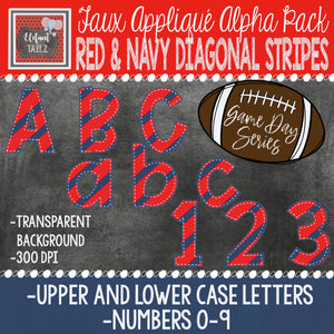 Game Day Series Alpha & Number Pack - Red & Navy Diagonal Stripes