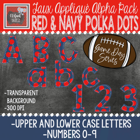 Game Day Series Alpha & Number Pack - Red & Navy Polka Dots