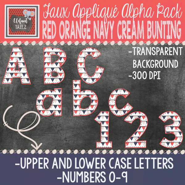 Alpha & Number Pack - Red-Orange, Navy, & Cream BUNDLE #2