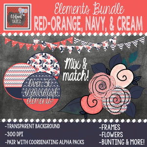 Red-Orange, Navy, & Cream Elements BUNDLE