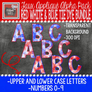 Alpha & Number Pack - Red White & Blue Tie Dye BUNDLE
